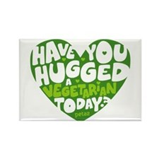 Hug a Vegetarian Rectangle Magnet