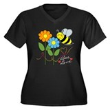 Bee Love Women's Plus Size V-Neck Dark T-Shirt