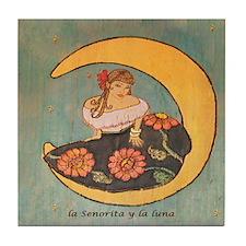 Girl on the moon. Tile Coaster