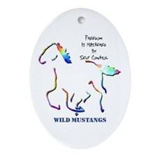 Wild Mustangs Oval Ornament