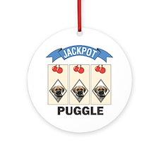 Jackpot Puggle Ornament (Round)