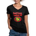 Small People against BP Women's V-Neck Dark T-Shir