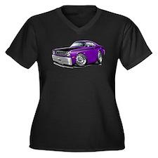 Duster 340 Purple Car Women's Plus Size V-Neck Dar