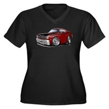 Duster 340 Maroon Car Women's Plus Size V-Neck Dar
