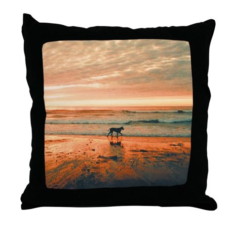 Great Dane Sunset Beach Throw Pillow