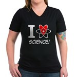 i heart science Women's V-Neck Dark T-Shirt