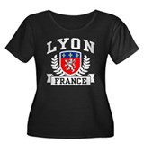 Lyon France Women's Plus Size Scoop Neck Dark T-Sh