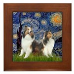 Starry / Two Shelties (D&L) Framed Tile