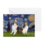 Starry / Two Shelties (D&L) Greeting Card