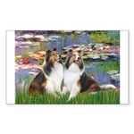 Lilies #2 / Two Shelties Sticker (Rectangle)