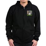 Lilies #2 / Two Shelties Zip Hoodie (dark)