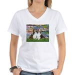 Lilies #2 / Two Shelties Women's V-Neck T-Shirt