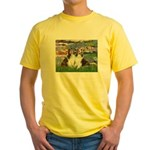 Lilies #2 / Two Shelties Yellow T-Shirt