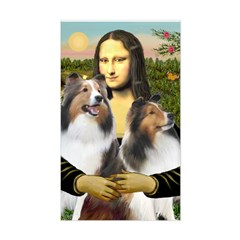 Mona Lisa / 2 Shelties (DL) Sticker (Rectangle)