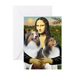 Mona Lisa / 2 Shelties (DL) Greeting Card