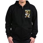 Mona Lisa / 2 Shelties (DL) Zip Hoodie (dark)