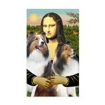 Mona Lisa / 2 Shelties (DL) Sticker (Rectangle 10