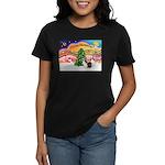 Xmas Music / 2 Shelties Women's Dark T-Shirt
