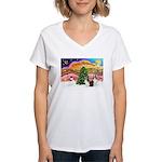 Xmas Music / 2 Shelties Women's V-Neck T-Shirt