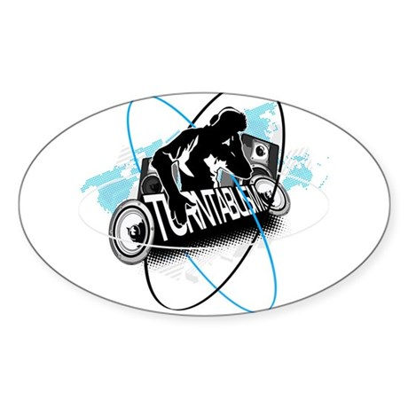 Turntablism DJ Sticker (Oval)