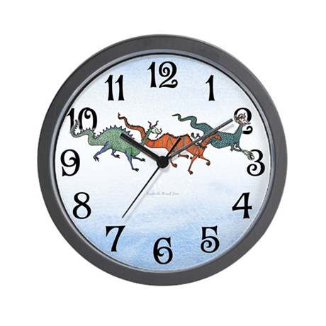 Colorful Sky Dragons Wall Clock