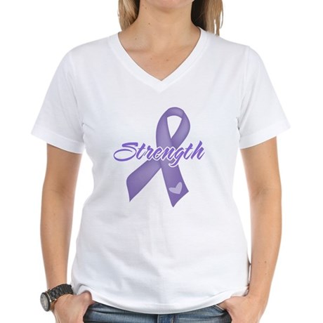 Strength Hodgkins Lymphoma Women's V-Neck T-Shirt