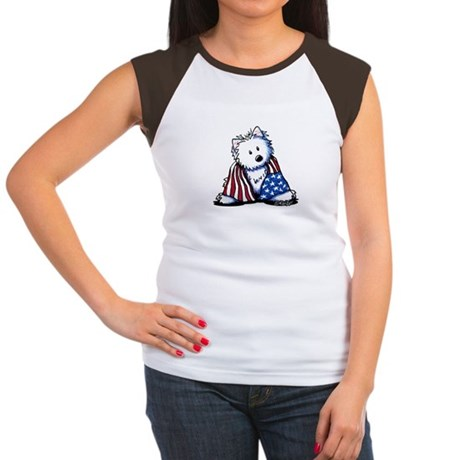 Patriotic Westie Women's Cap Sleeve T-Shirt