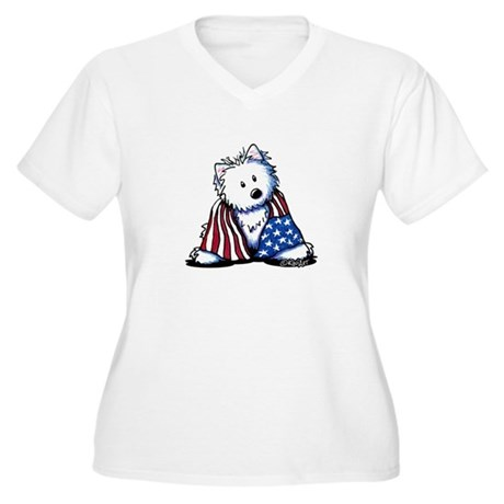 Patriotic Westie Women's Plus Size V-Neck T-Shirt