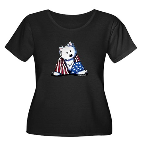 Patriotic Westie Women's Plus Size Scoop Neck Dark