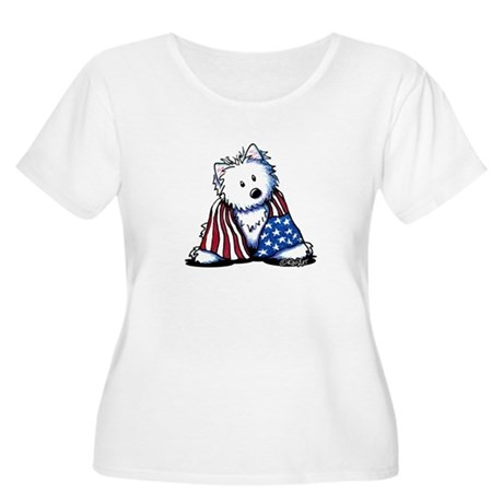 Patriotic Westie Women's Plus Size Scoop Neck T-Sh