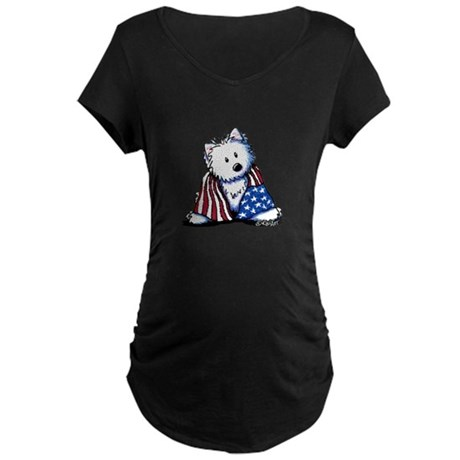 Patriotic Westie Maternity Dark T-Shirt