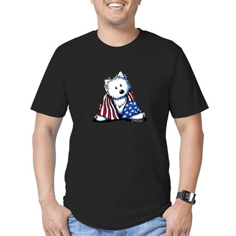 Patriotic Westie Men's Fitted T-Shirt (dark)
