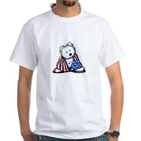 Patriotic Westie White T-Shirt