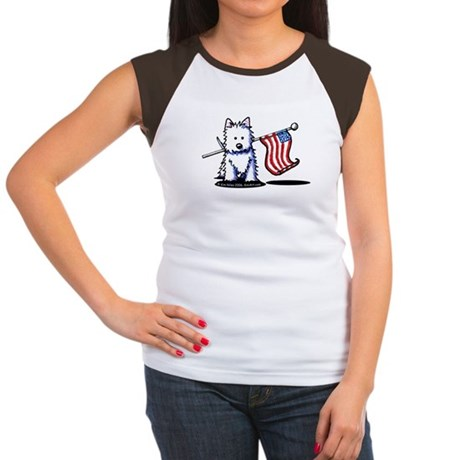 US Flag Westie Women's Cap Sleeve T-Shirt