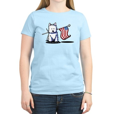 US Flag Westie Women's Light T-Shirt