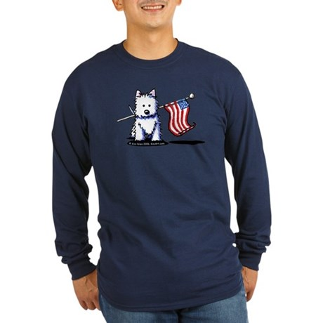 US Flag Westie Long Sleeve Dark T-Shirt