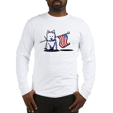 US Flag Westie Long Sleeve T-Shirt