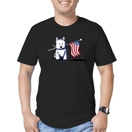 US Flag Westie Men's Fitted T-Shirt (dark)