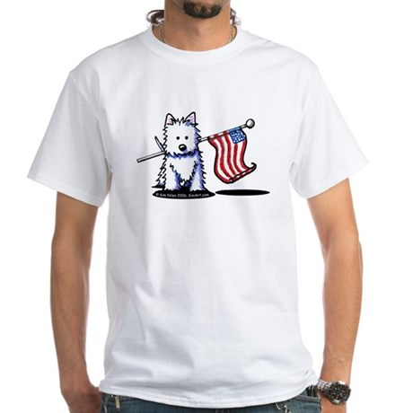 US Flag Westie White T-Shirt