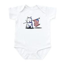 US Flag Westie Infant Bodysuit