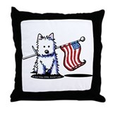 US Flag Westie Throw Pillow