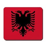 Albanian Eagle Black on Red Mousepad