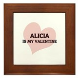 Alicia Is My Valentine Framed Tile