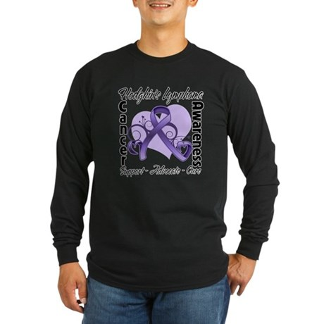Ribbon Hodgkins Lymphoma Long Sleeve Dark T-Shirt