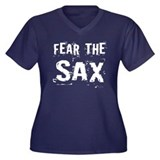Fear The Saxophones Women's Plus Size V-Neck Dark