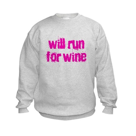 Will run for wine Kids Sweatshirt