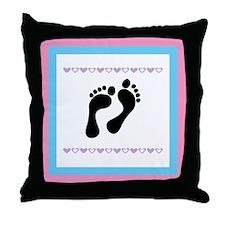 Black Footprints Throw Pillow