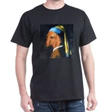 Dog with Pearl Earring Dachshund Black T-Shirt