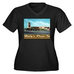 Hody's Drive-In Women's Plus Size V-Neck Dark T-Sh