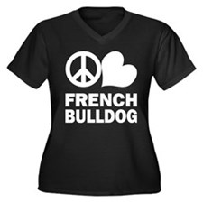 Peace Love French Bulldog Women's Plus Size V-Neck